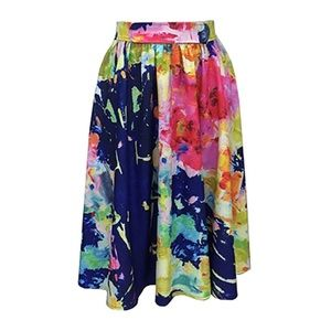 Anthropologie Troubadour Watercolor Midi Skirt M